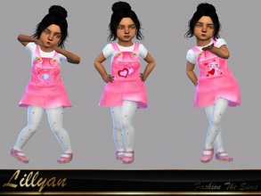 Sims 4 — Toddler Bianca Dress by LYLLYAN — Dress pink in 3 prints. . You must own the latest toddler stuff pack to be