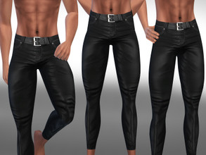 Sims 4 — Men Leather Pants with Belt by saliwa — Men Leather Pants with Belt