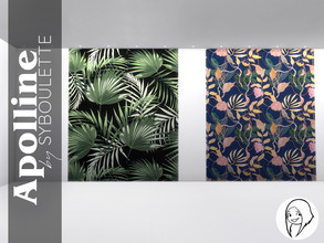 Sims 4 — Apolline - Wallpaper murals by Syboubou — This is an assortment of four seamless mural wallpapers, with a