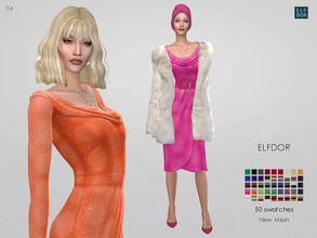 Sims 4 — Dress Vanda by Elfdor — - 50 swatches - teen to elder - everyday, formal, party - base game compatible - with