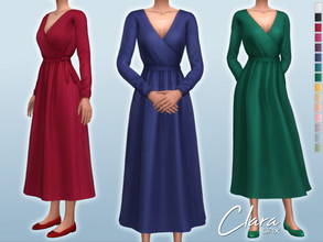 Sims 4 — Clara Dress by Sifix2 — - New mesh - 15 swatches - Base game compatible - HQ mod compatible - Teen - Young Adult