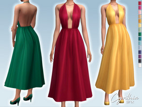 Sims 4 — Cynthia Dress by Sifix2 — - New mesh - 15 swatches - Base game compatible - HQ mod compatible - Teen - Young