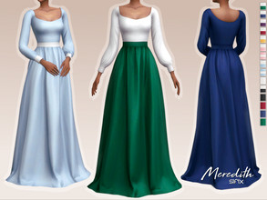 Sims 4 — Meredith Dress by Sifix2 — - New mesh - 15 swatches - Base game compatible - HQ mod compatible - Teen - Young
