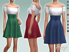 Sims 4 — Jenny Dress by Sifix2 — - New mesh - 10 swatches - Base game compatible - HQ mod compatible - Teen - Young Adult