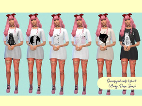 Sims 4 — Oversized cats T-shirt - Mesh needed by AndyRoseSims — Six recolors of an oversized t-shirt with cute cats.