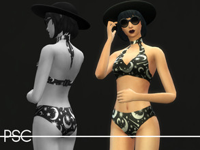 Sims 4 — Killstar Under The Stars Bikini by ProudSimCreations — The perfect bikini to stay goth, even when the weather is