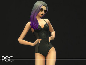 Sims 4 — Killstar Burn Bright One Piece by ProudSimCreations — For the gothic pool parties. -Base Game Compatible -Hand