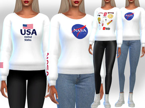 Sims 4 — Female White Mesh Printed Sweats by saliwa — Female White Mesh Printed Sweats