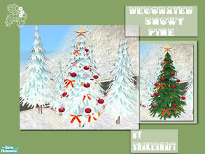 Sims 2 — Decorated Snowy Pines by Shakeshaft — A Large Decorated Snowy Pine for your sims gardens this Christmas, set