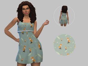 Sims 4 — Fox Summer Dress - Base Game by TulipSniper — Cute summer dress with a fox print