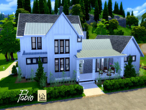 Sims 4 — Fabio | Base Game by GenkaiHaretsu — Big family modern farmhouse , full base game with 6 bedrooms and 4