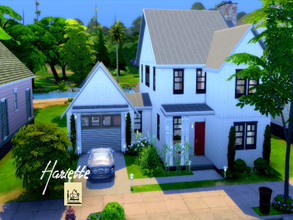 Sims 4 — Hariette by GenkaiHaretsu — Modern farmhouse for big family in white wood, 5 bedrooms and 4 bathrooms.