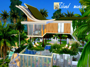 Sims 4 — Island Mansion | Island living by GenkaiHaretsu — Pool house with rich landscaping, large space for a