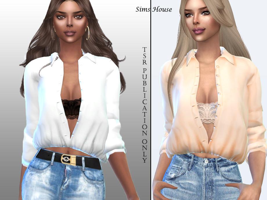 Sims House S Women S Long Sleeve Unbuttoned Shirt