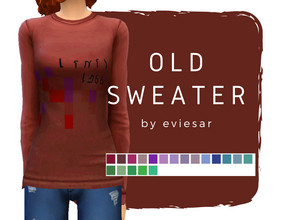 Sims 4 — Thrifted Sweater by EvieSAR — - uneven sweater (back is longer) - 19 swatches (thrifted like) - custom