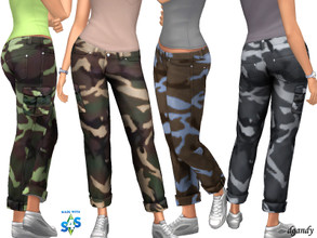 Sims 4 — Camo 20200605 by Dgandy — Base game item Bottoms: Everyday Athletic 4 colors