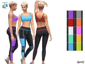 Sims 4 — Leggings and Top Set by Dgandy — Base game item Tops and Bottoms: Everyday Athletic Top - Swimwear 10 colors
