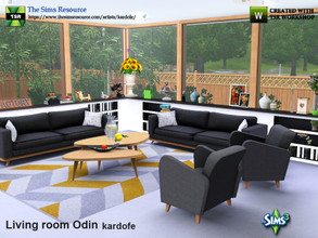 Sims 3 — kardofe_Living room Odin by kardofe — 1950s Nordic style room, with sofa, armchair, coffee table, a window