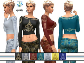 Sims 4 — Top 202006_08 by Dgandy — Base game item Tops: Everyday Athletic Party 7 colors