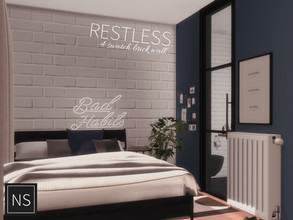 Sims 4 — Networksims - Restless Walls by networksims — A painted-over brick wall in four greyscale colour swatches.