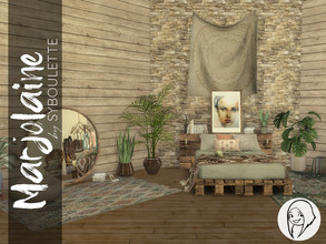 Sims 4 — Marjolaine Bedroom Set by Syboubou — The Marjolaine's bedroom embrace the new ecolifestyle trend by using