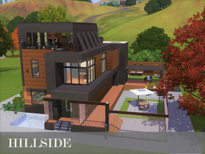 Sims 3 — Hillside by Scape — This house is particularly beautiful at night and is one of my personal favourites. Fully