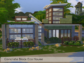 Sims 4 — Concrete Block Eco House by timi722 — House from recycled concrete panels and blocks. This building fits nicely