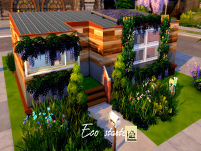 Sims 4 — Eco starter by GenkaiHaretsu — Hello! Today I present the first of many eco homes with a new addition. It is a