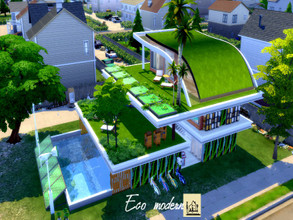Sims 4 — Eco modern by GenkaiHaretsu — Hello! Today I present the anothe of many eco homes with a new addition. It is a