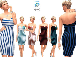 Sims 4 — Dress 202006_13 by Dgandy — Base game item Outfits: Everyday Formal Party 6 colors
