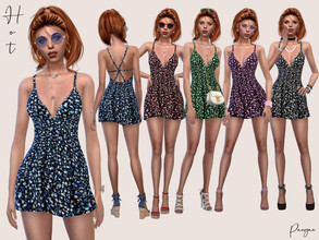 Sims 4 — Hot by Paogae — Short summer dress, for day and night, with floral pattern in five colors, woven on the back.