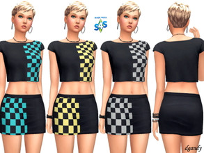 Sims 4 — Top and Skirt 202006_1415 by Dgandy — Base game item Tops and Bottoms: Everyday Party 7 colors