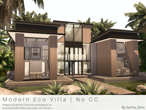 Sims 4 — Modern Eco Villa - No CC by Sarina_Sims — A medium sized Eco Villa for Sulani, above the water. Specials: - The
