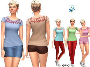 Sims 4 — Top 20200617 by Dgandy — Base game item Tops: Everyday Athletic sleep 5 colors