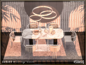 Sims 4 — Xanadu Dining room by Winner9 — Luxury and elegant dining room with marble and glass details and modern