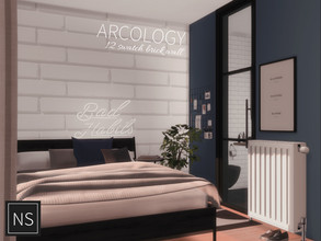 Sims 4 — Networksims - Arcology Brick by networksims — A simple brick wall in 12 colour swatches (1 orange, 11