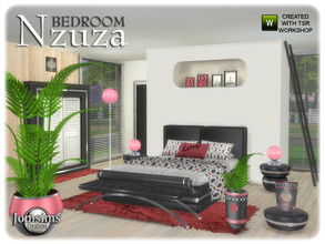 Sims 4 — Nzuza bedroom by jomsims — Nzuza bedroom Nzuza bedroom for your Sims 4. New modern bedroom in 2 part with deco.