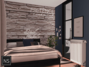 Sims 4 — Networksims - Pretence Stone Walls by networksims — An irregular stone slab wall in 8 colour swatches. Colour
