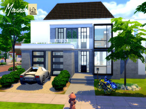 Sims 4 — Miranda by GenkaiHaretsu — Modern big house with pool, little eco bc of solar panels!