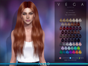 Sims 4 — Anto - Vega (Hairstyle) by Anto — Long wavy hair for sims. Hope you like it!
