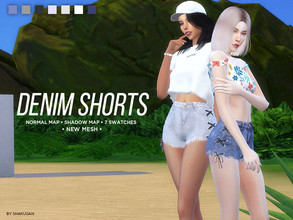 Sims 4 — Denim Shorts by Alexa_Catt — Clothing Bottom - Shorts From teen to elder 7 swatches HQ compatible Original mesh