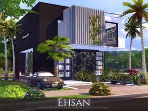 Sims 4 — Ehsan by Rirann — Ehsan is a contemporary house for a small sim family. Fully furnished and decorated. Includes: