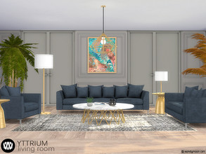 Sims 4 — Yttrium Living Room by wondymoon — Yttrium modern style living room! Have fun! - Set Contains * Sofa * Loveseat