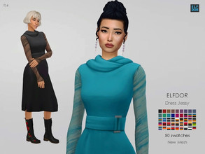 Sims 4 — Dress Jessy by Elfdor — - 60 swatches - teen to elder - everyday, formal, party - base game compatible - with