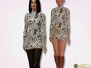 Sims 3 — Mirror Embroidered Mini Dress by Harmonia — 3 color. not-Recolorable Please do not use my textures. Please do