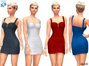 Sims 4 — Dress 202006_21 by Dgandy — Base game item Outfits: Everyday Formal Party 4 colors