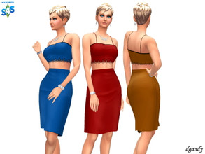 Sims 4 — Dress 202006_22 by Dgandy — Base game item Outfits: Everyday Formal Party 3 colors