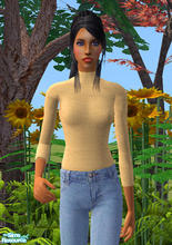 Sims 2 — Chenille Turtleneck in Butter Creme by RockinRobin — Stylish chenille turtleneck for your Sims ladies. Recolor