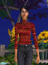 Sims 2 — Chenille Turtleneck in Reds by RockinRobin — Stylish chenille turtleneck for your Sims ladies. Recolor of Maxis
