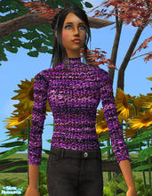 Sims 2 — Chenille Turtleneck in Purple by RockinRobin — Stylish chenille turtleneck for your Sims ladies. Recolor of